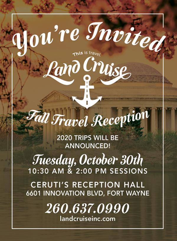 As a reminder, the 2018 Fall Travel Reception is on Tuesday, October 30 at 10:30am and 2:00pm